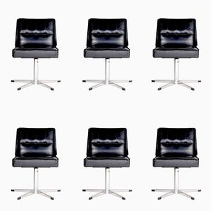 French Chairs with Chrome Metal and Black Leather, 1970s, Set of 6