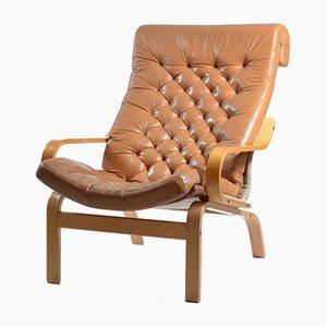 Butaca Bore de cuero y lino textil de Noboru Nakamura para Ikea, años 70