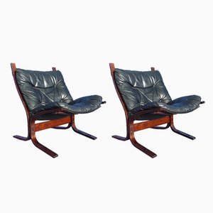 Model Siesta Leather Chairs by Ingmar Relling for Westnova, 1960s, Set of 2