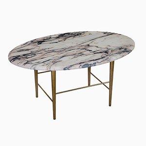 Table Basse Stud en Marbre Vulcanatta & Laiton par Lind + Almond pour Novocastrian