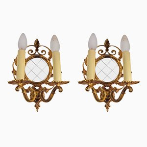 Brass Wall Sconces with Candle Bulbs, 1950s, Set of 2