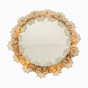 Backlit Mirror with Clear Glass Flowers by Ernst Palme for Palwa, 1970s