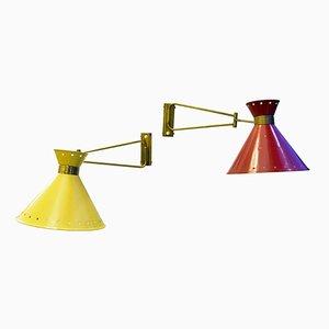 Lámparas de pared vintage de René Mathieu para Lunel