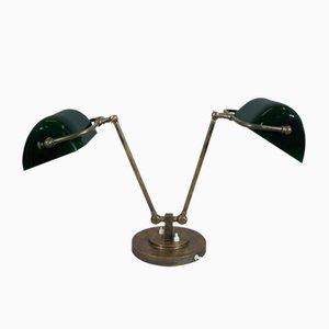 Lampe de Bureau Vintage en Laiton & Verre, 1930s