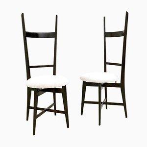 Chiavari Stühle aus weißem Samt und massivem Mahagoni, 1950er, 2er Set