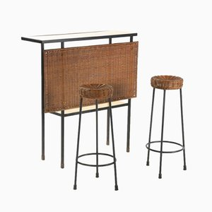 Wicker Bar Set, 1950s