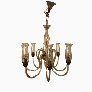 Lampadario Art Nouveau in vetro di Murano