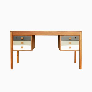Danish Teak Veneer Desk with Drawers from Domino Møbler, 1960s