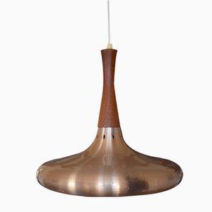 Lampe à Suspension en Teck et Cuivre, Danemark, 1960s