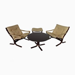 Mid-Century Siesta Table, Ottoman & 2 Leather Chairs by Ingmar Relling for Westnofa