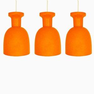 Lámparas Mandarin holandesas vintage de vidrio de RAAK, años 70. Juego de 3