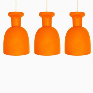 Vintage Dutch Mandarin Orange Glass Lamps from RAAK, 1970s, Set of 3