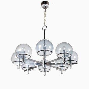 Lámpara de araña de metal cromado grande de Gaetano Sciolari, años 70