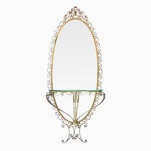 Espejo oval grande vintage y consola de Pier Luigi Colli