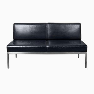 Chrome & Leather Sofa by Kho Liang Ie for Artifort, 1950s