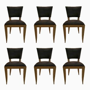 Chairs in Solid Oak by Rodia, 1940s, Set of 6