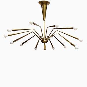 Mid-Century Modern Twelve-Arm Brass Chandelier