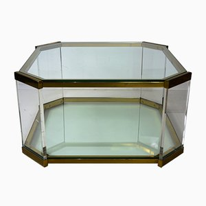 Coffee Table in Brass, Lucite, and Glass, 1970s