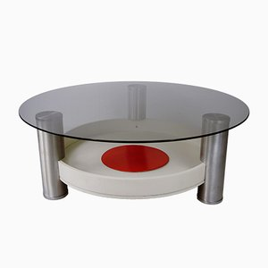 Vintage Round Glass & Wood Coffee Table