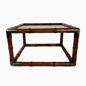 Mesa de centro de madera tallada y vidrio, años 60