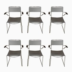 Chairs with Leather Armrests and Sled Bases, 1970s, Set of 6