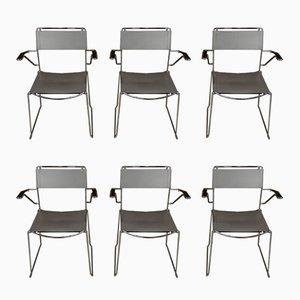 Stühle mit Armlehnen aus Leder & Schiefer Gestellen, 1970er, 6er Set