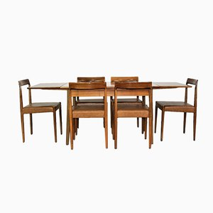 Tavolo da pranzo allungabile con sedie di Lübke, anni '60, set di 7