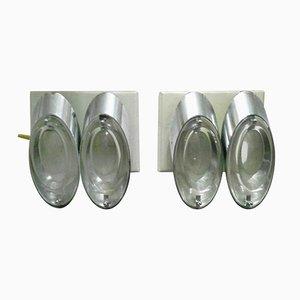 Glas Wandlampen von Oscar Torlasco für Stilkronen, 1970er, 2er Set