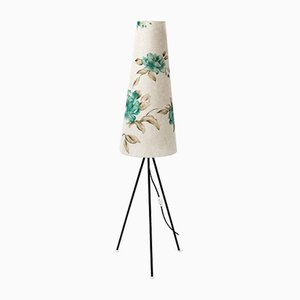 Tripod Floor Lamp with Floral Shade, 1960s
