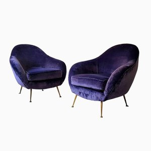 Mid-Century Italian Armchairs in Velvet, Set of 2