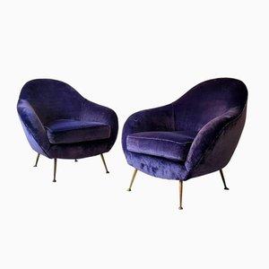 Mid-Century Italian Armchairs in Velvet, Set of 2