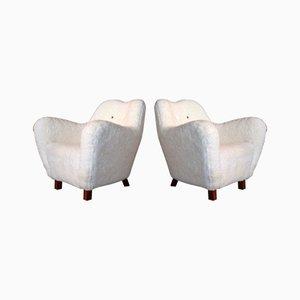 Schaffell Sessel von Sten Wicéns Möbelfabrik, 1950er, 2er Set