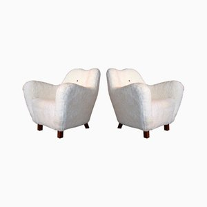Sheepskin Armchairs from Sten Wicéns Möbelfabrik, 1950s, Set of 2