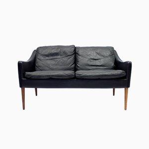 Sofá de dos plazas de cuero y palisandro de Hans Olsen para Cs Møbelfabrik, años 60
