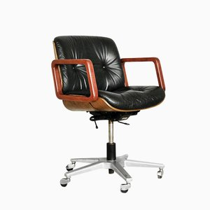 Leather Swivel Office Chair from Giroflex, 1970s