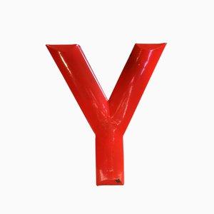 Letra Y vintage esmaltada en rojo, años 30