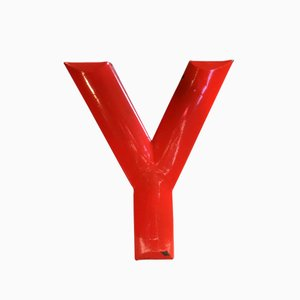 Vintage Red Enameled Letter Y Sign, 1930s