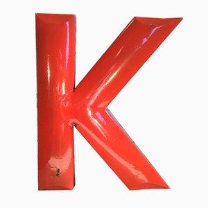 Vintage Red Enamel Letter K, 1930s