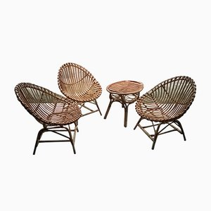 Italian Rattan Table & Chair Set from Bonacina, 1950s