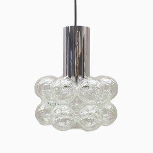 Lampada da soffitto in vetro e metallo cromato di Helena Tynell per Limburg, anni '60