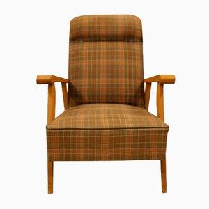 Karierter Mid-Century Sessel aus Buchenholz, 1960er