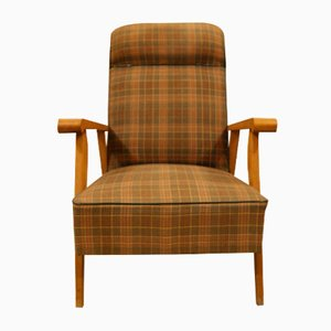 Mid-Century Beech & Plaid Lounge Chair, 1960s