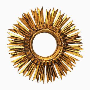 Miroir Convex Sunburst Vintage en Bois
