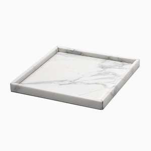 Quadratische White Carrara Marble Tray von FiammettaV Home Collection
