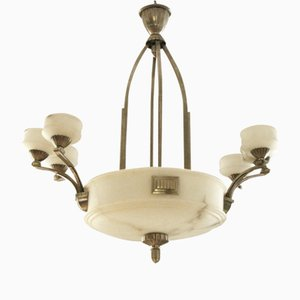 French Art Deco Alabaster Chandelier, 1925