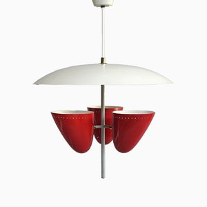 Italian Triple Shade Pendant Lamp, 1950s