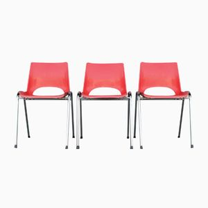 Vintage French Red Plastic & Chrome Stackable Children's Chairs, Set of 3