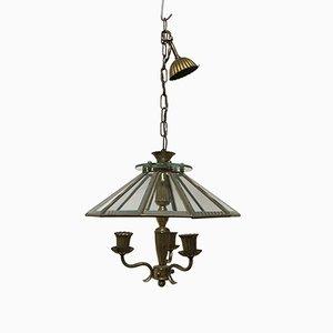 Lámpara de araña de vidrio y bronce, años 20