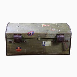 Large Antique Canvas, Leather, & Brass Trunk
