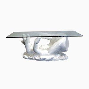 Mesa de centro italiana en forma de mano de fibra de vidrio con tablero de vidrio, años 70